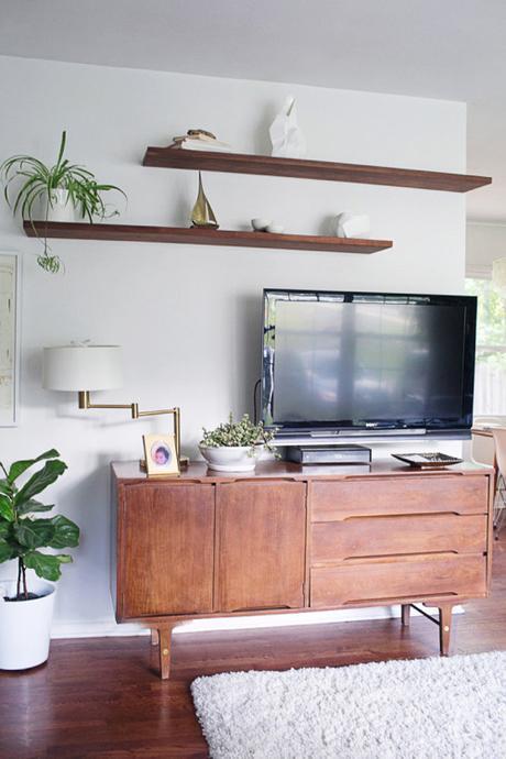 TV Over Mid-Century Modern Credenza Fiddle Leaf Floating Shelves