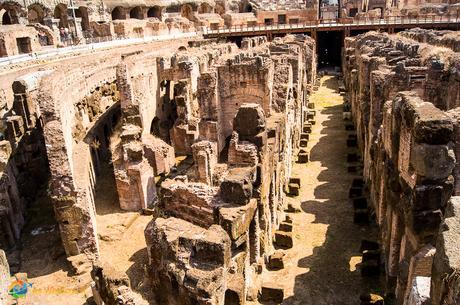 Passageways under the floor of the Colosseum's arena