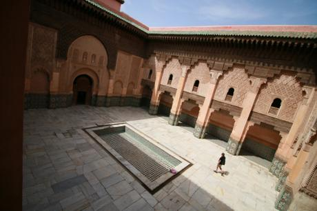 The courtyard of Marrakech's Ben Youssef Madarsa