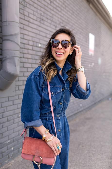 how to wear a denim jumpsuit, chloe faye bag rose pink