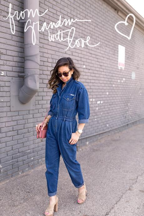 how to wear a denim jumpsuit, joie inez platform sandal, chloe faye bag
