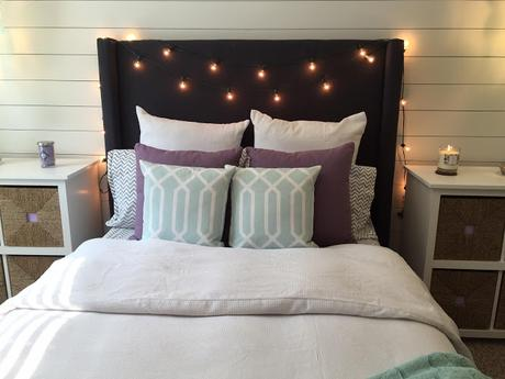 Behind the scenes: Creating the Fabric Covered Headboard and Shiplap Accent Wall!