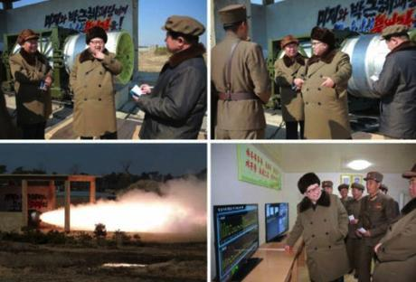 Kim Jong Un is briefed about cascade separating and the rocket engine test (Photos: Rodong Sinmun/KCNA).