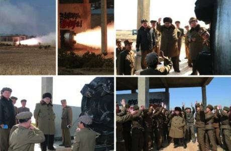 Kim Jong Un supervises a rocket engine test and cascade separation and attends a photo-op with personnel involved (Photos: Rodong Sinmun/KCNA).