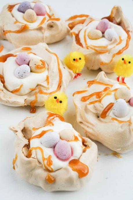 easter caramel meringue nests