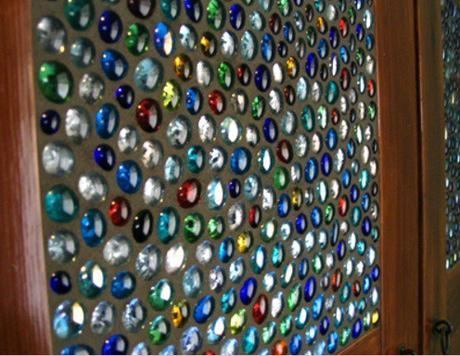 Glass Marbles Used To Make Stained Glass Door