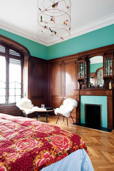 A French apartment with amazing classical bones mixed with modern furniture