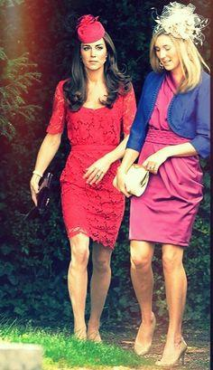 Catherine, Duchess of Cambridge in Collette Dinnigan red lace dress. Photo from Pinterest.