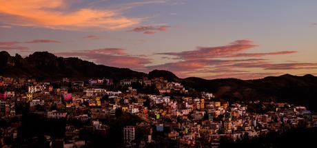 Part of Guanajuato at sunset, seen from our terrace.