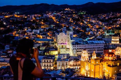 Charlene and Guanajuato at night. Viewed from El Pipila statue lookout.