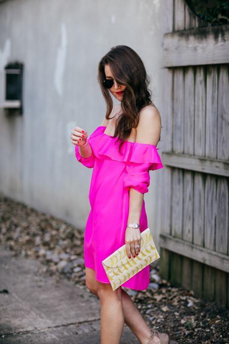 Dallas Blogger Amy Havins wears an Amanda Uprichard off the shoulder pink mini dress.