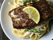 Salmon Asparagus Fettuccine Alfredo