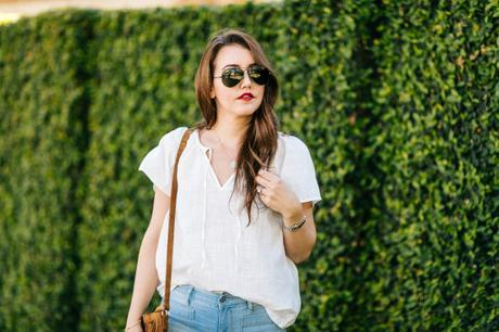 Dallas Blogger, Amy Havins shares how to style cropped flare denim from Old Navy two different ways.