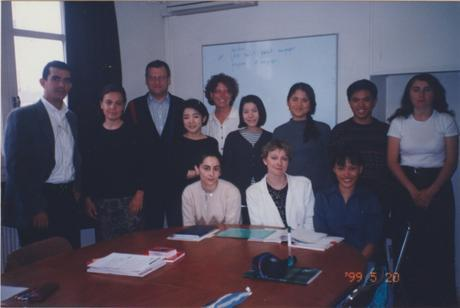 Our class. That's my teacher in the middle.
