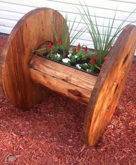 Wooden Cable Reel Used To Make a Planter