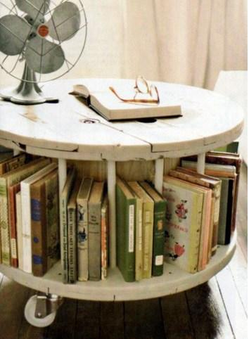 Wooden Cable Reel Used To Make a Book Tidy