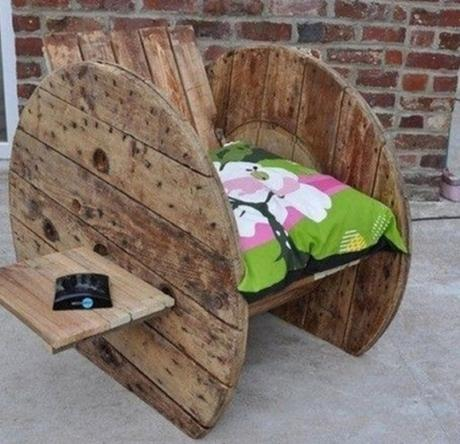 Wooden Cable Reel Used To Make a Chair