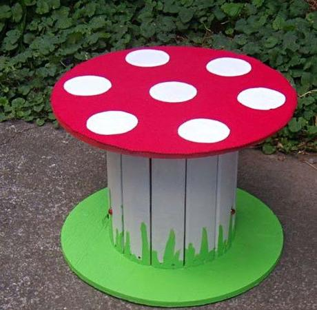Wooden Cable Reel Used To Make a Toadstool