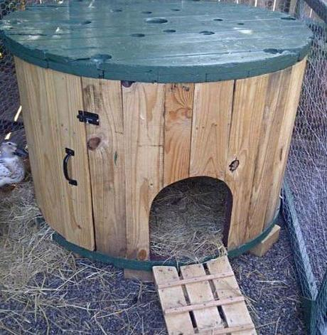 Wooden Cable Reel Used To Make a Chicken Coop