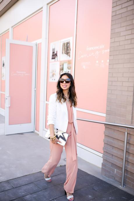 jcrew white blazer, pink jumsuit, miu miu star clutch, HOH chelsea sunglasses, style at any age
