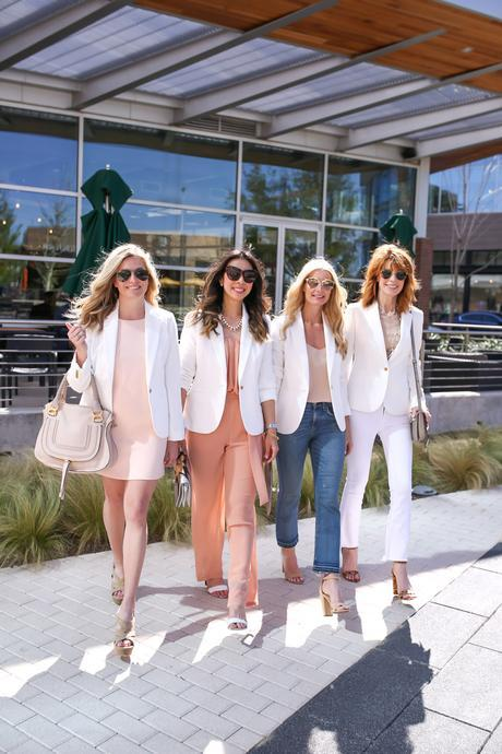 style at any age, jcrew white blazer, one blazer four ways, chloe faye marcie, miu miu star clutch, claire v clutch