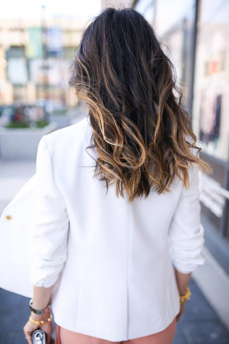 jcrew white blazer, ombre hair, aveda , style at any age
