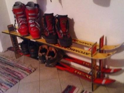 Snow Skis Transformed Into A Shoe Rack