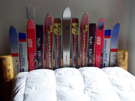 Snow Skis Transformed Into A Bed Headboard