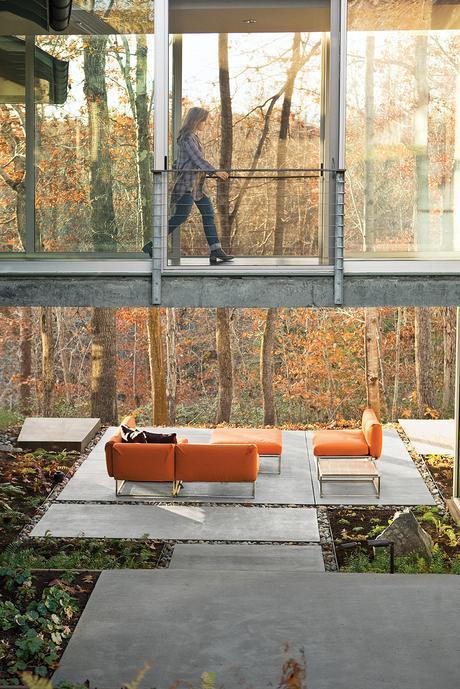 modern backyard concrete patio sofa terrace