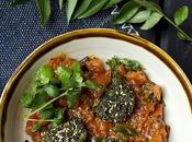 Tameta Muthiya Shaak (Gujarati Tomato Curry with Steamed Dumplings)