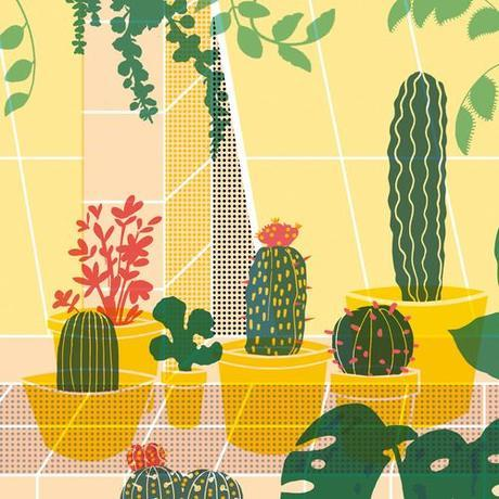 Cactus On Tiled Sill Illustration Artwork