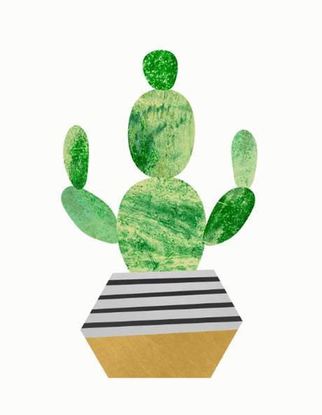 Illustration of Cactus In Striped Geometric Pot