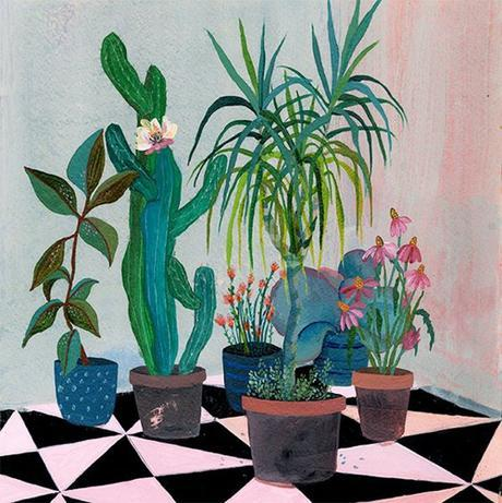 Painting of Cactus And Houseplants in Interior