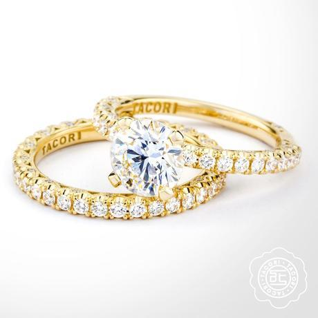 Gold Solitaire engagement ring by Tacori