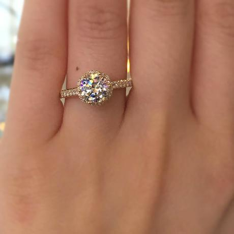 Tacori Gold engagement rings give the most popular styles a Midas touch, like this gorgeous gold halo!