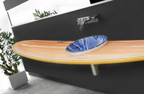 Surfboard Used To a Bathroom Sink