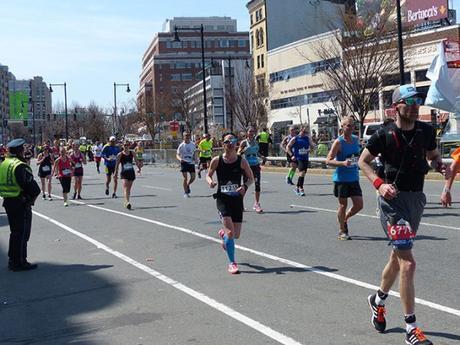 Mike Sohaskey with one mile to go at Boston Marathon