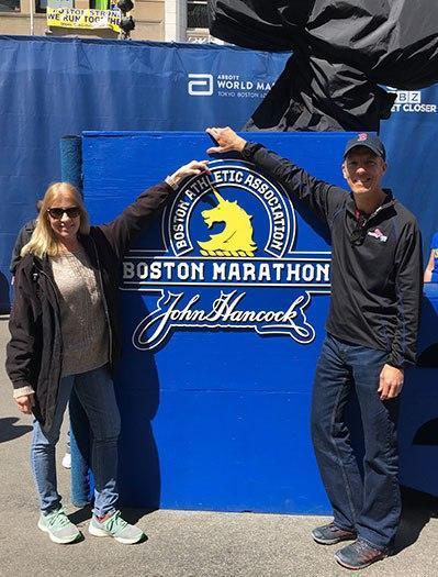 Sandy Pitcher & Mike Sohaskey at Boston Marathon finish