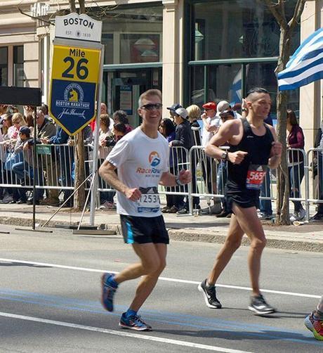Mike Sohaskey at mile 26 of Boston Marathon