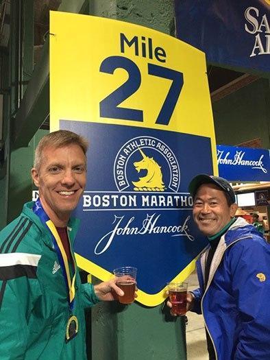 Mike Sohaskey & Paul Ishimine at Mile 27 sign