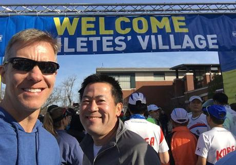 Mike Sohaskey & Paul Ishimine at Boston Marathon Athletes Village
