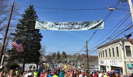 Boston Marathon start in Hopkinton