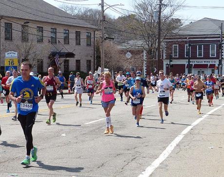 Mike Sohaskey at Mile 16 in Newton at Boston Marathon