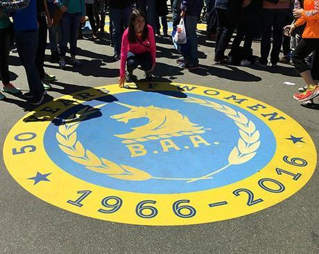 50 Years of Women logo at Boston Marathon
