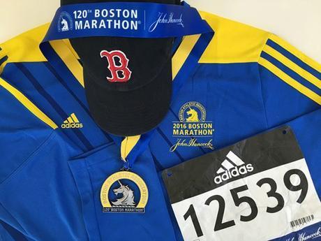 2016 Boston Marathon medal, finisher's shirt & bib