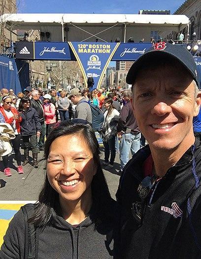 Boston Marathon finish line selfie