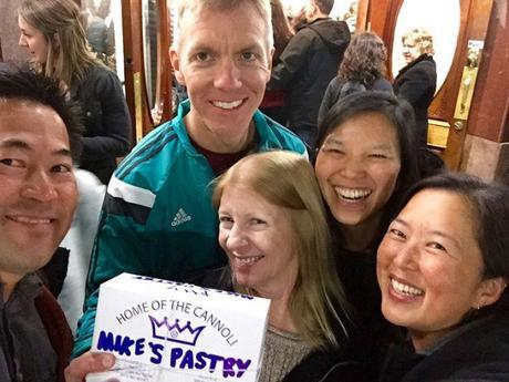 Group carbo-loading at Mike's Pastry in Boston's North End