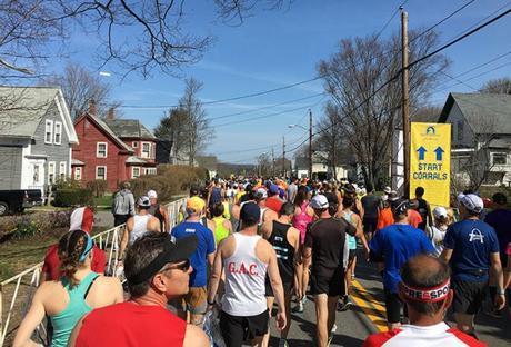 Heading to Boston Marathon start corrals
