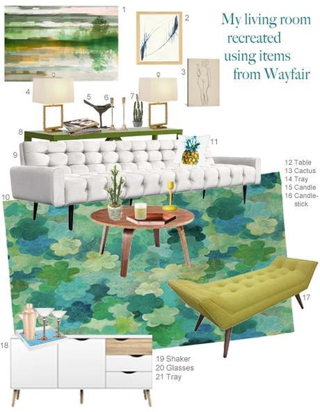 StyleCarrot's Living Room As Seen In HGTV Recreated With Wayfair Products