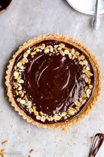 Chocolate Peanut Butter Tart with Pretzel Crust (Gluten Free + Vegan)